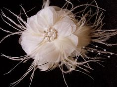 Venice - Ivory soft organza feather pearl rhinestone hair comb or bridal pin for dress, bridal wedding, special occasion