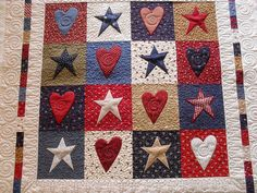 Hearts and stars...would make a cool rug hooking pattern