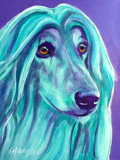 Afghan Hound Painting - Afghan Hound - Aqua by Alicia VanNoy Call