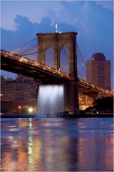 Olafur Eliasson brought the New York City Waterfalls to the New York Harbor in 2008.  Brooklyn Bridge.