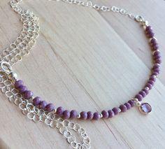 Swarovski crystal necklace swarovski Amethyst by FindTheBeautyVT