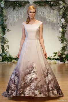 sarah jassir 2017 bridal off the shoulder boat neckline unembellished bodice romantic beige color a  line wedding dress sweep train (1) mv