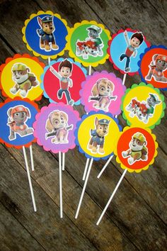 Paw Patrol Birthday Cupcake Treat Toppers by PurpleZebraPaperCo, $12.00