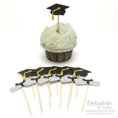 Graduation Cupcake Topper  Set of 12  by EmbellishbyJackie on Etsy, $11.00