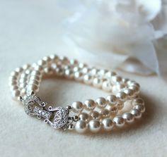 Wedding Pearl Jewelry Bridal  Bracelet  by DreamIslandJewellery