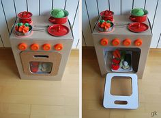 cocinita de cartón · cardboard play kitchen by glaramknits