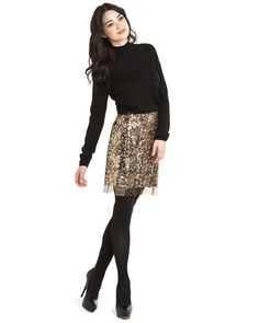 """Elie Tahari """"Cindy"""" Gold Sequin Skirt. Cute for the holidays"""