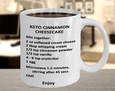 Keto Coffee Mug - Diet Cinnamon Cheesecake Recipe - Diet Mug Cheesecake, Cinnamon Cheesecake, Jiggly Cheesecake, Ketogenic Recipes, Low Carb Recipes, Ketogenic Diet, Keto Foods, Desserts Keto, Keto Mug Cake