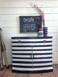 Bold striped cabinet in General Finishes Coastal Blue and Antique White Milk Paint by Morning Dew Creations Cottage Furniture, Coastal Flooring, Decor, Coastal Furniture, Rustic Furniture, Painted Furniture, Coastal Decor, Striped Furniture, Home Decor