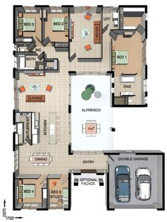 Floor Plan Friday: 4 bedroom + study with Alfresco in the middle Here's a 4 bedroom + study with Alfresco in the middle. I quite like the entry - how you can see through to the back of the outdoor entertaining area. Dream House Plans, Small House Plans, House Floor Plans, U Shaped House Plans, The Plan, How To Plan, Casa Wabi, Courtyard House Plans, House Blueprints