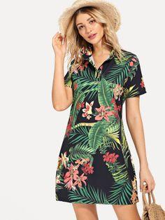 Foliage Print Shirt Dress -SheIn(Sheinside) Stylish Dresses, Cute Dresses, Casual Dresses, Fashion Dresses, Summer Dresses, Classy Outfits, Trendy Outfits, Trendy Clothing, Tropical Dress