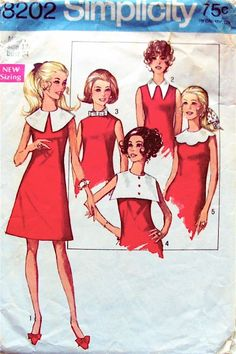 Simplicity 8202; ©1969; Misses' Dress with Detachable Collars: The A-line, sleeveless and collarless dress with high round neckline features a set of contrasting detachable collars. V. 1 has large circular collar. V. 2 has shirt-type collar. V. 3 has bias stand-up collar with bow trim. V. 4 has large square collar with button trim. V. 5 has circular scalloped collar.