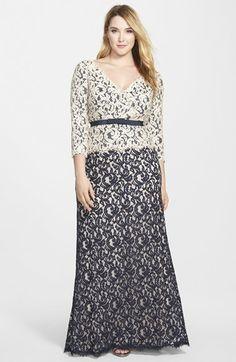 Tadashi Shoji V-Neck Lace Gown (Plus Size)