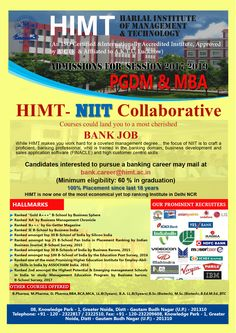 Admissions open 2017 #PGDM,MBA and #MCA more info visit @himt.ac.in