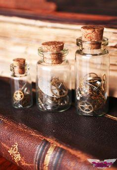 Time in a Bottle Steampunk Watch Parts Shelf Figurines Se