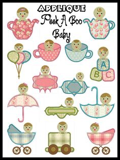 Set of 14  PEEK A BOO Baby  Machine Applique by embroiderquilt
