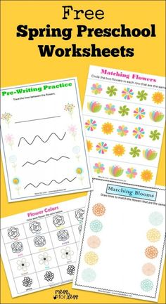 Free Spring Preschool Worksheets -  work on basic skills with a Spring theme!