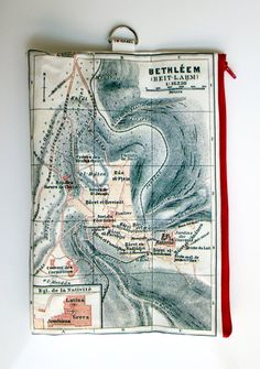Fold over clutch  women hand bag printed with the map of ancient Israel by efratul