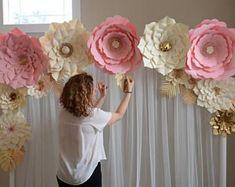 Telón de fondo de flores, plantilla de flores de papel, flor de papel DIY, plantilla de flores grandes de papel, decoración de la boda, tutorial de flores de papel, de papel
