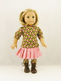 Completely handmade by me, trendy 3 piece set features a Tshirt, pleated corduroy skirt, and knit leggings  The T-shirt is made from a milk