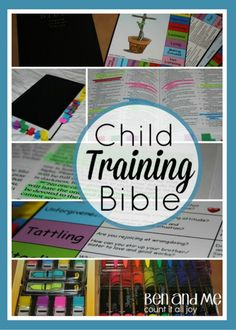 Child Training Bible: This Bible is designed for parents and children to seek answers from God's Word on common sinful problems. Topics include: disobedience, selfishness, anger, complaining and fear. The Child Training Bible makes it easy for parents to bring the truth of God's Word into times of instruction.