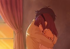 I love this pic of Noda and Yuri (Angel Beats!). It's so sad but sweet at the same time.