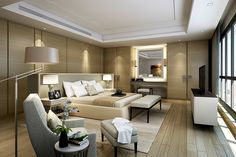 contemporary luxury, simple bedroom suite || White Jacket - Lanson Place