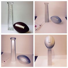 DIY Lombardi Trophy made out of glass vase, foam football, spray primer and silver spray paint for sports themed party Football Rooms, Football Banquet, Football Themes, Football Humor, Football Shirts, Football Parties, Superbowl Decor, Football Party Favors, Football Party Decorations