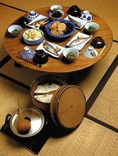 Chabudai, low Japanese tables. The legs usually fold up so that the table can be stored when not in use.