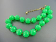 A Vintage Sci Fi Glowey Green Lime Jelly Plastic Celluloid Beaded Necklace. Cool.. The Old Junk Trunk. on Etsy, $5.00