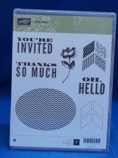 Stampin' Up OH, HELLO  Thanks Flower You're invited Set of 7 Stamps NIB Retired #stampinup