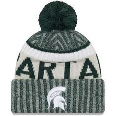4ac439e43691d NCAA Michigan State Spartans Green Team Sport Cuffed Knit Hat With Pom Hats  Online