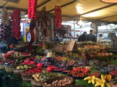 The open air market in Campo di Fiori features various fruits and vegetables. Rome, Italy.