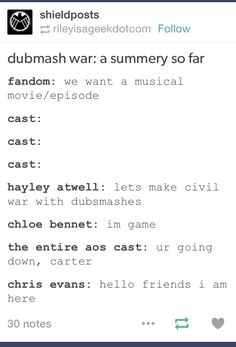 The Dubsmash war so far with Hayley Atwell and Chloe Bennet
