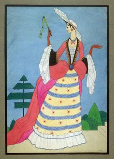 Woman dressed in the style of ca. 1685-1725. Mac Harshberger, A History of Costumes, 1928-32. Watercolor. USA. Via FAMSF
