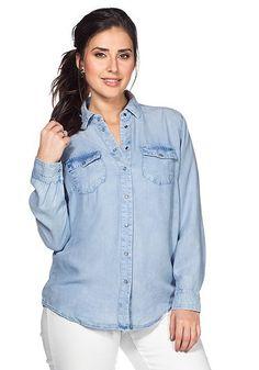 sheego Denim Jeansbluse - light blue Denim | Damenmode online kaufen