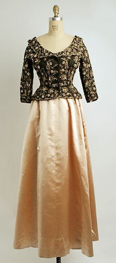Evening ensemble (evening dress with jacket; petticoat, hat, and hat pins shown separately)  Cristobal Balenciaga for the House of Balenciaga, Fall/Winter 1949-1950, French, silk and simulated pearls. The Metropolitan Museum of Art.