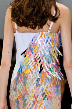 Hussein Chalayan Spring 2014 - Details. Pinned for colour palette but also as a way of presenting print on a garment, may not have to necessarily be a sculptural piece.