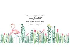 flamingo, flowers, and quote image