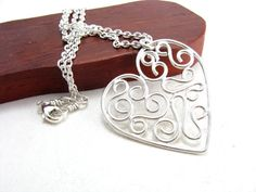 Sterling Silver Large Filigree Heart Pendant Necklace