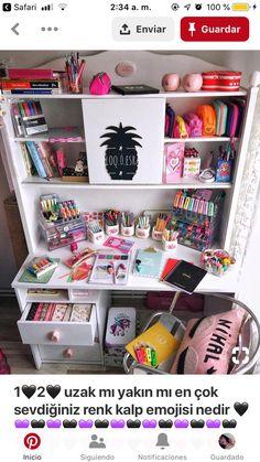 Desk decor design ideas and fun accessoris Study Room Decor, Cute Room Decor, Bedroom Decor, Girl Bedroom Designs, Dream Rooms, Room Organization, Girl Room, Stationary, Stationeries
