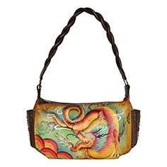 """Anuschka Women's Hand Painted East West Shoulder Bag with Side Pockets 12""""x7.25""""x4"""" Imperial Dragon: Handbags: Amazon.com"""