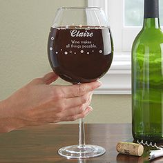 Wine glass that holds a whole bottle of wine. YIKES! dangerous! Big Vino Whole Bottle Personalized Wine Glass