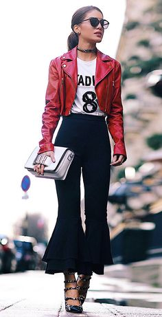 Love the bell flare short pants & red jacket!