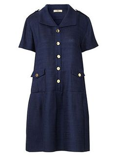 Basketweave Collar Drop Waist Dress Navy