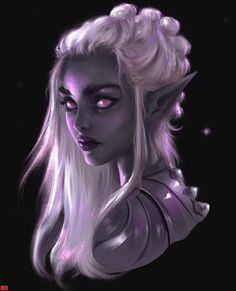 f Drow Elf underdark city portrait cleric wizard bard warlock sorcerer Dark Fantasy Art, Foto Fantasy, Fantasy Kunst, Fantasy Rpg, Fantasy Girl, Fantasy Artwork, Elves Fantasy, Dungeons And Dragons Characters, Dnd Characters