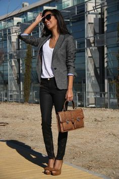 I love these types of business casual looks. Peep toe heels are such a cute shoe with skinny jeans.