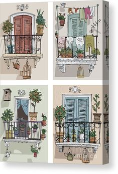 Residency Acrylic Print featuring the digital art Set Of Cute Balcony - Cartoon by Iralu house illustration, Set Of Cute Balcony - Cartoon Acrylic Print by Iralu House Illustration, Watercolor Illustration, Watercolor Paintings, Building Illustration, Watercolor Sketch, Sketch Art, Paris Kunst, Arte Sketchbook, Fashion Sketchbook