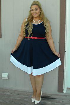 Youtube star Loey Lane wearing FTF's  Bridgeport Belted Flare Dress $42.50