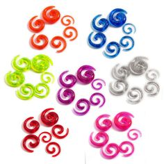 Wholesale 12Pcs/Lot Acrylic Spiral Ear Expander Stretching Ear Plugs Body Jewelry Tapers  Plug & Tunnel Jewelry